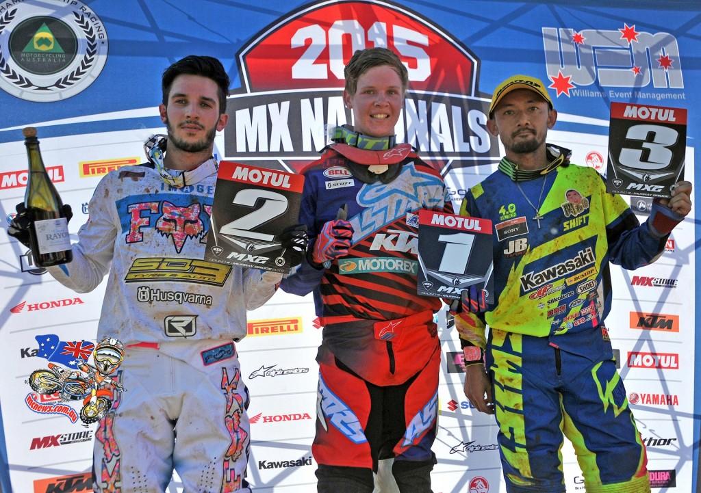 MX2 Rd4 podium (L-R) 2nd - Luke Arbon / Husqvarna ; 1st - Caleb Ward / KTM ; 3rd - Takeshi Katsuya - Kawasaki MX Nationals / Round 4 / MX2 Australian Motocross Championships Murray Bridge SA Sunday 17 MAY2015