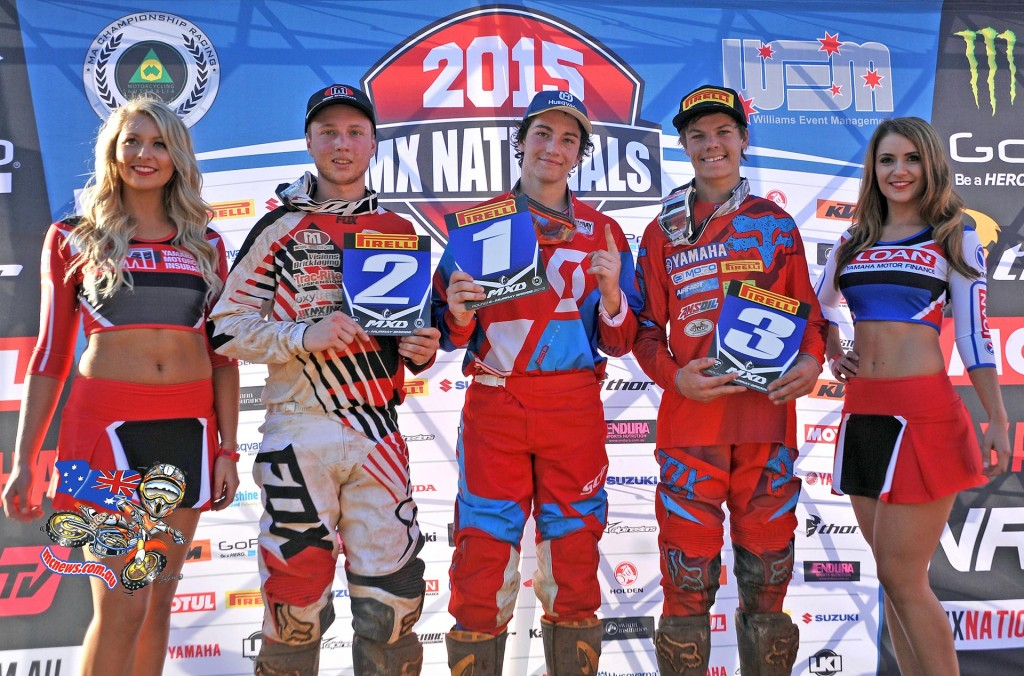 MXD Rd4 podium (L-R) 2nd - Jayden Rykers / KTM ; 1st - Connor Tierney / Husqvarna ; 3rd - Jordan Hill / Yamaha MX Nationals / Round 4 / MXD Australian Motocross Championships Murray Bridge SA Sunday 17 MAY2015