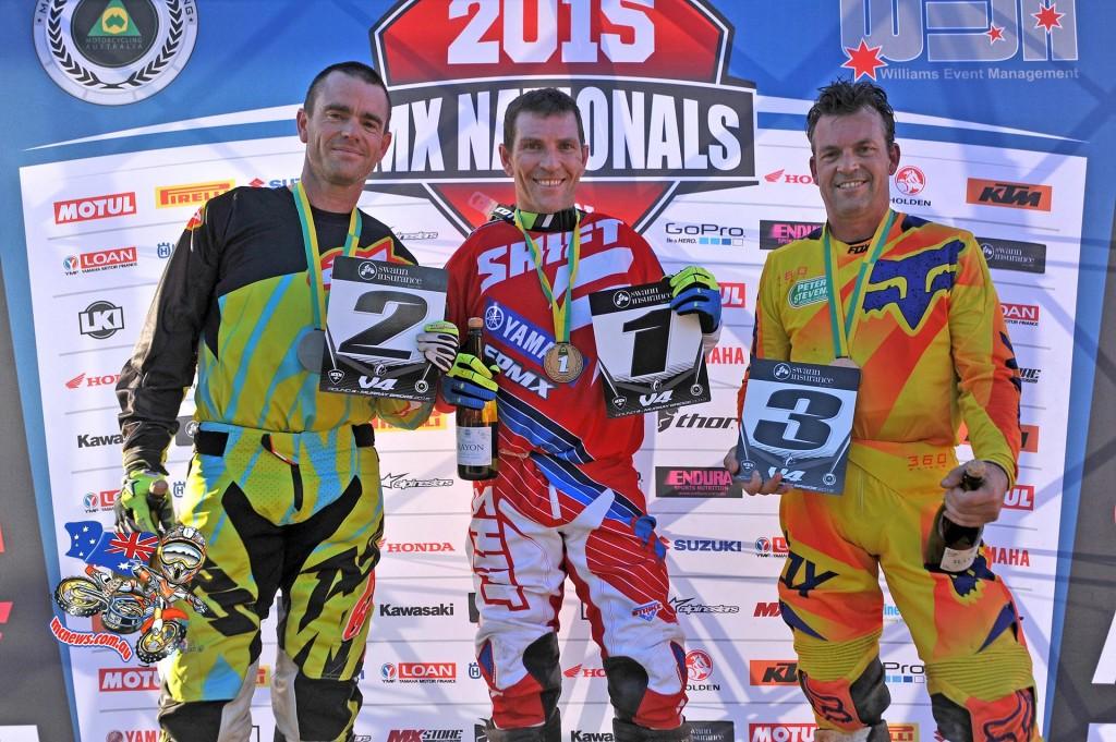 MX Nationals Murray Bridge VETS Podium Australian Motocross Championships Murray Bridge SA Sunday 17 MAY 2015