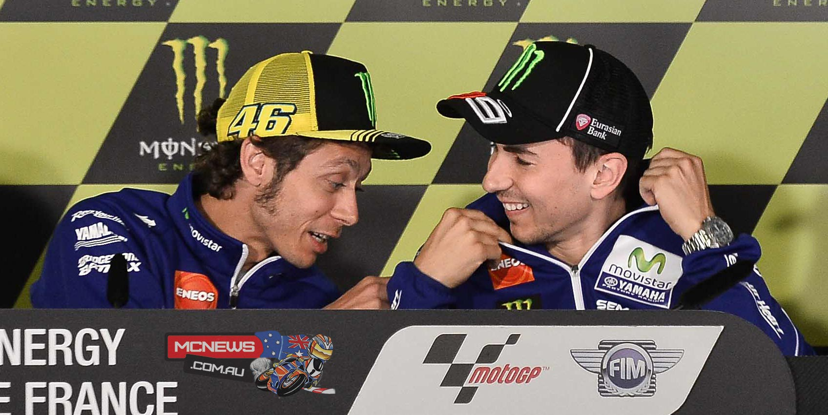Valentino Rossi and Jorge Lorenzo at Le Mans in 2015