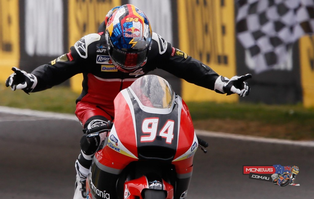 AGR Team's Jonas Folger takes a controlled victory ahead of Johann Zarco and Tito Rabat after a dramatic last corner clash in Jerez.