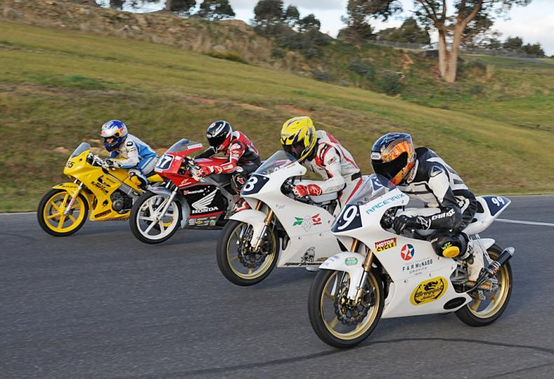 Matt Barton pictured here during the MRRDA season 2011 (second in shot) and flanked by Olly Simpson (furthest), Remy Gardner and Zac Zanesco (inside)