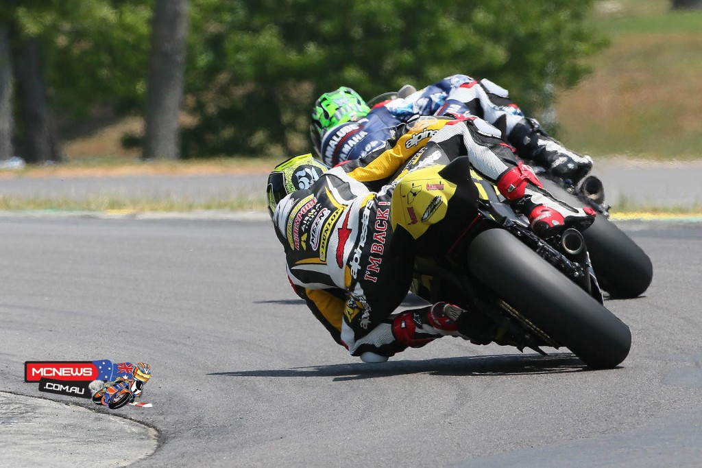 JD Beach (leading) and Josh Herrin battled for the duration in the Supersport final at VIRginia International Raceway on Saturday with Herrin taking the win. Photo By Brian J. Nelson.