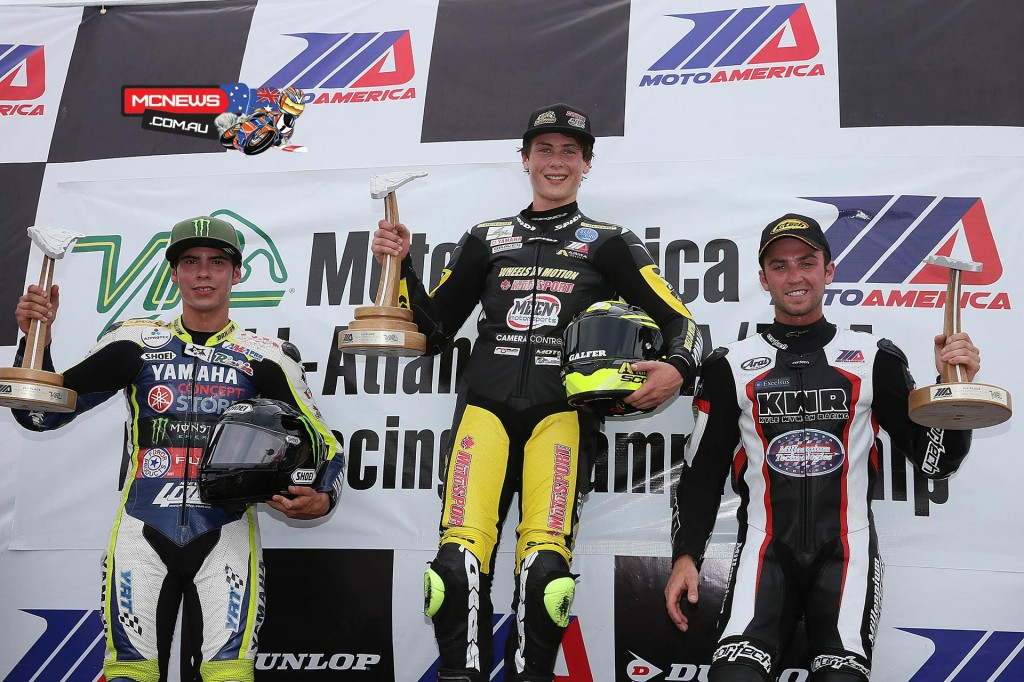 (From left to right) Richie Esclanate, Joe Roberts and Travis Wyman celebrate their podium finishes in Saturday's Superstock 600 final at VIR. (Below) Josh Hayes will start Sunday's two Superbike races at VIR from pole position. Photography by Brian J. Nelson.