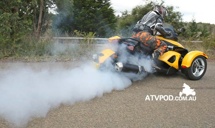 Trev demonstrates the traction control off and stupidity on method of Can-Am Spyder riding on their release in 2008