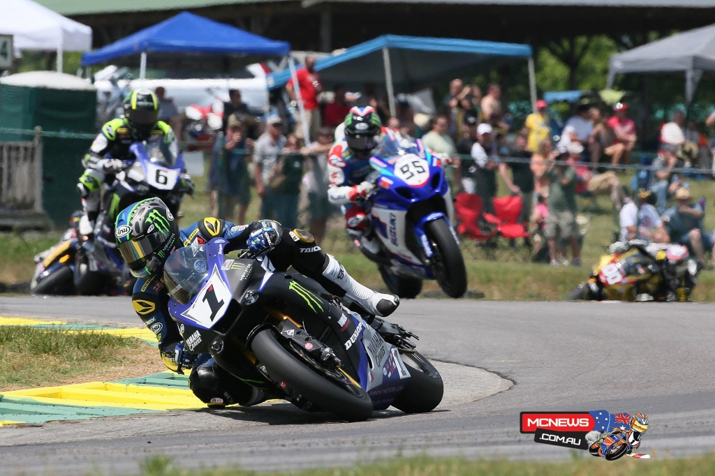Josh Hayes (1) won his 50th Superbike race on Sunday at VIRginia International Raceway. Later that day he went out and won his 51st. Photography by Brian J. Nelson.