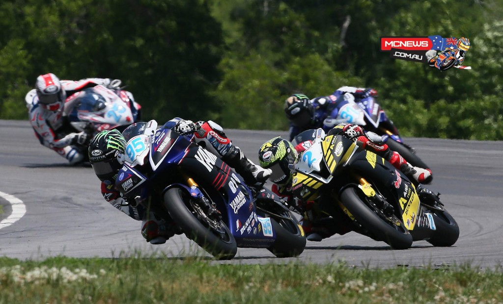(Above) JD Beach (95) leads Josh Herrin (2) en route to winning Sunday's Supersport final. (Below) Richie Escalante won his first career race in the U.S. in Superstock 600.