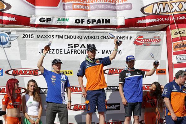 The E1 podium Day One Spain World Enduro 2015