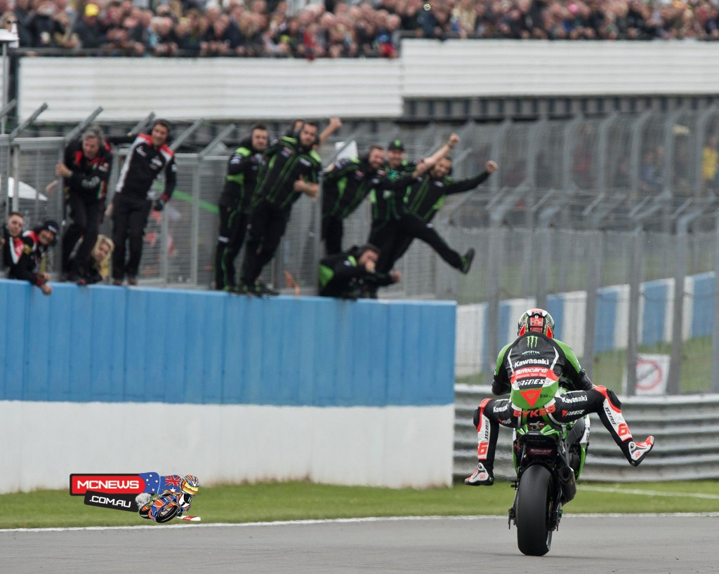 Kawasaki's Tom Sykes invigorates his 2015 season by taking the Donington double and equalling the great Carl Fogarty's record of six wins at the English circuit