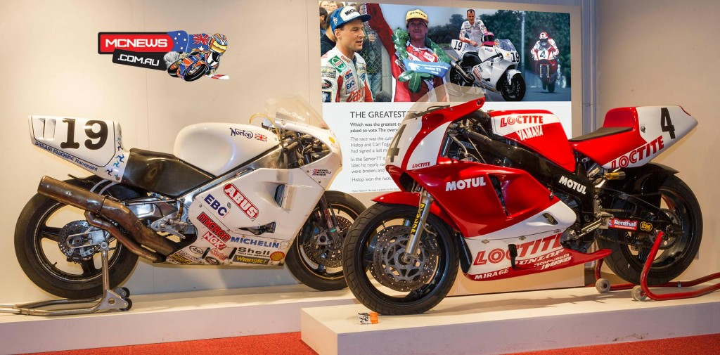 Carl Fogarty's Loctite Yamaha 0W01 together with the Norton NRS588 that Steve Hislop raced in the 1992 Senior TT