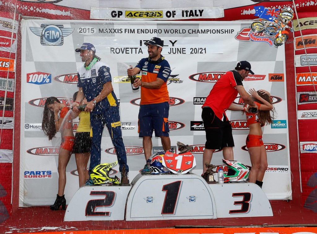 E2 Day Two - 1. Antoine Meo (KTM) 1:05:47.64; 2. Pela Renet (Husqvarna) 1:06:11.23; 3. Alex Salvini (Honda)