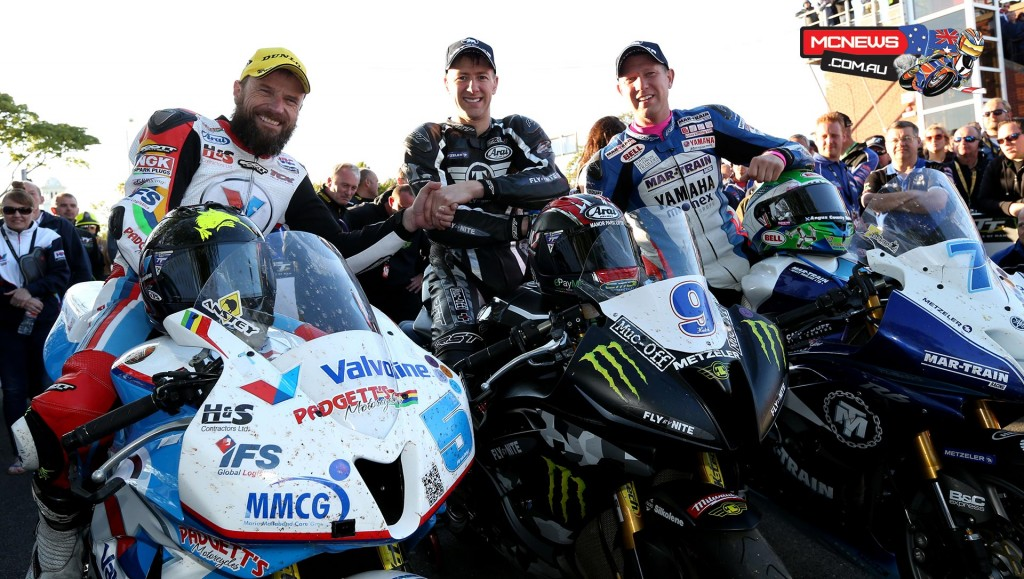 The top three from the Monster Energy Supersport Race 1 (L to R) Bruce Anstey (2nd), Ian Hutchinson (1st), Gary Johnson (3rd).