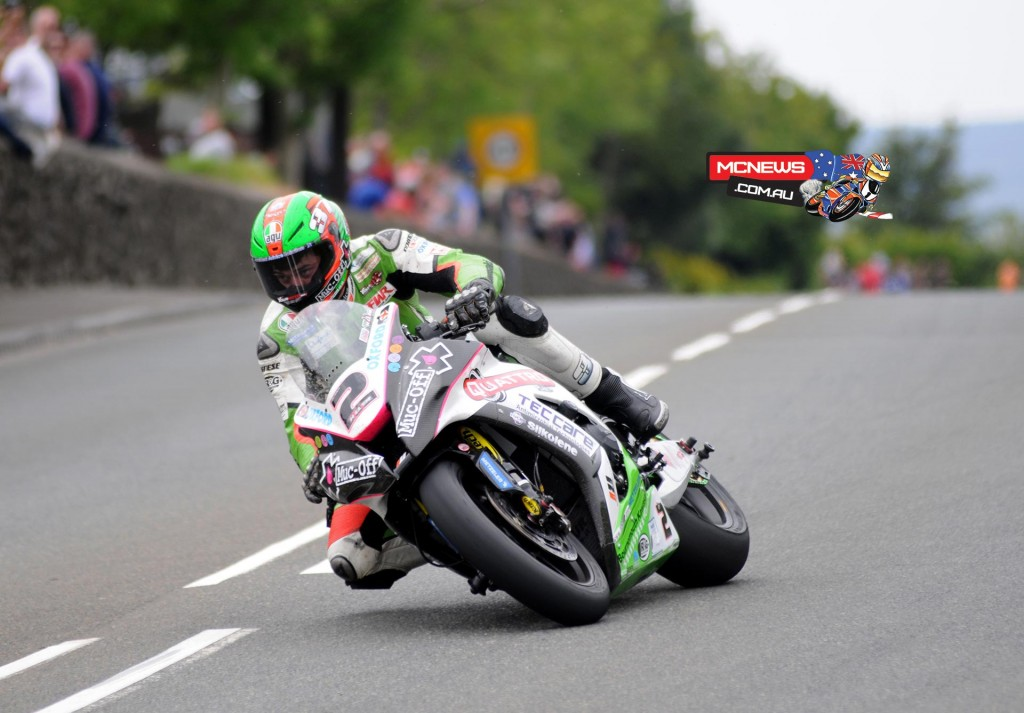 James Hillier took his Quattro Plant Muc-Off Kawasaki to second place and a 132+mph lap in 2015 PokerStars Senior TT podium. Credit Simon Patterson/Pacemaker Press Intl.