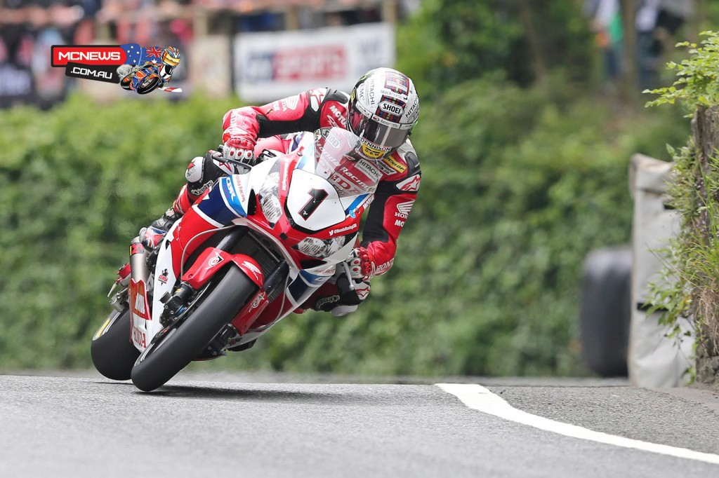 John McGuinness at Union Mills in the 2015 PokerStars Senior TT podium. Credit Dave Kneen/Pacemaker Press Intl.
