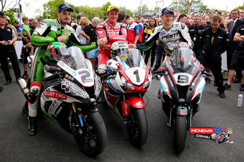 James Hillier, John McGuinness and Ian Hutchinson celebrate in the winners enclosure for the 2015 PokerStars Senior TT podium.