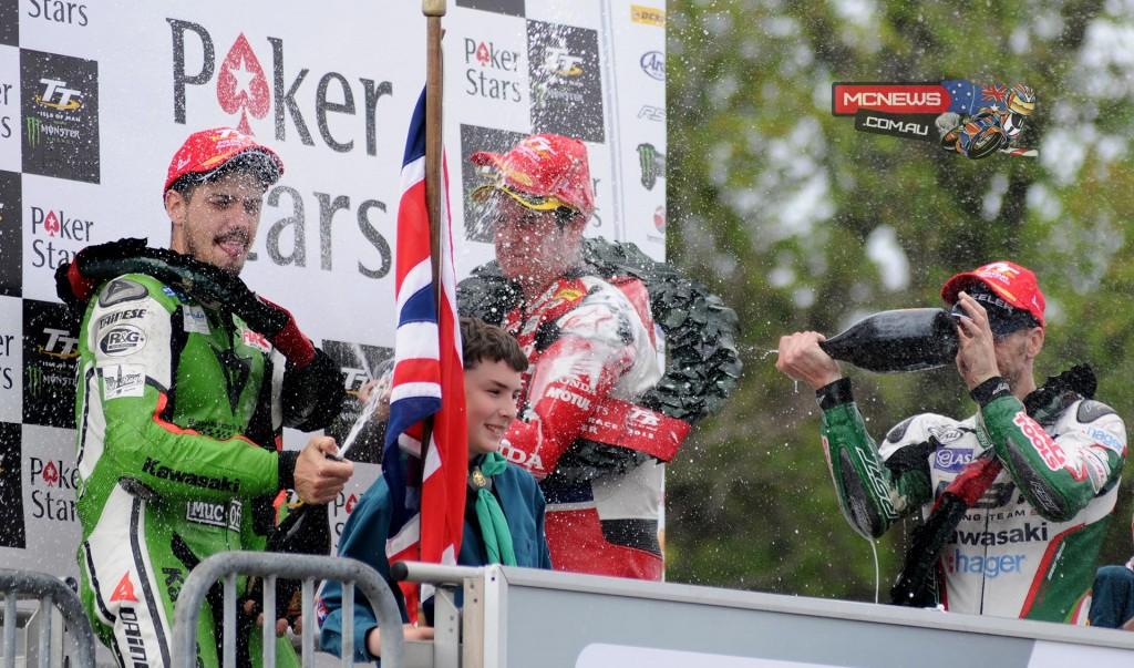 Champagne flies on the 2015 PokerStars Senior TT podium. Credit Simon Patterson/Pacemaker Press Intl.