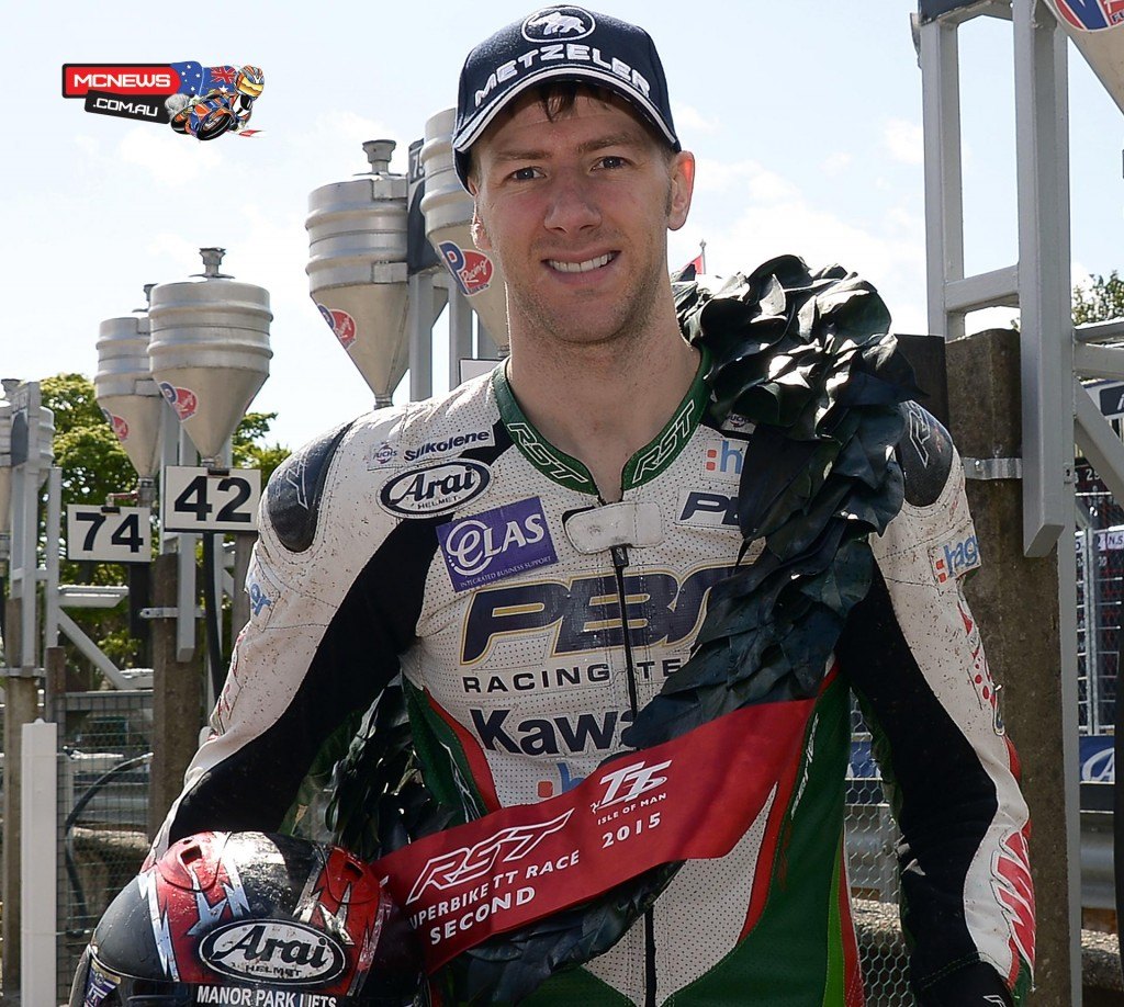 PBM Kawasaki mounted Ian Hutchinson led for much of the race but had to settle for second place. His first podium since 2010