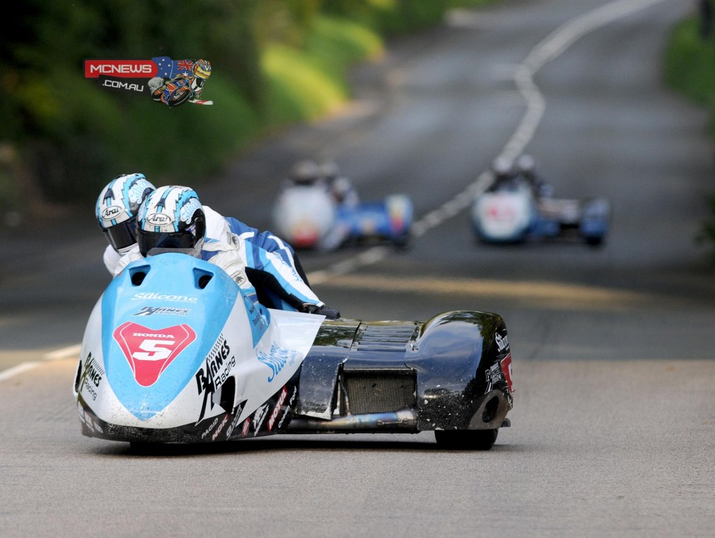 John Holden/Dan Sayle quickest sidecar at 114.742, five seconds faster than Molyneux.