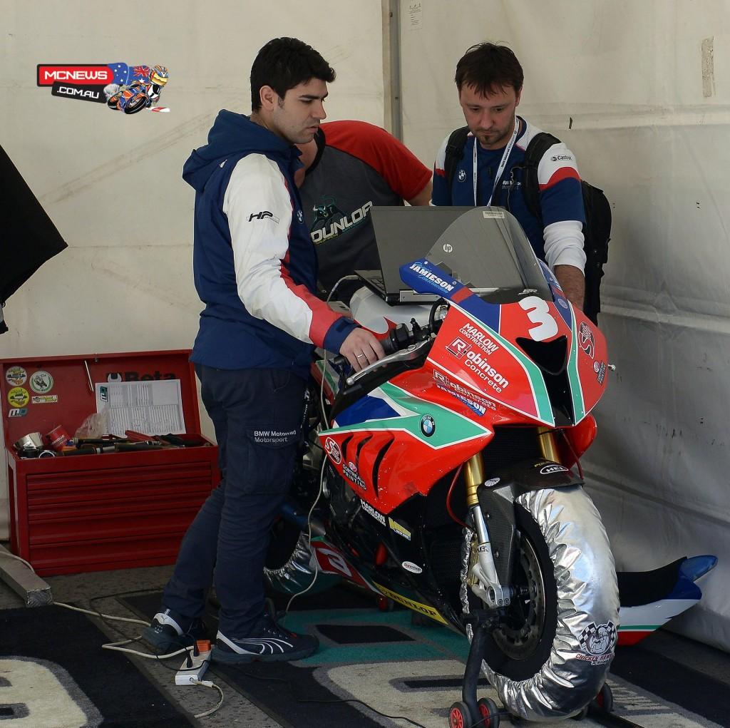 Mechanics fettle Michael Dunlop's BMW