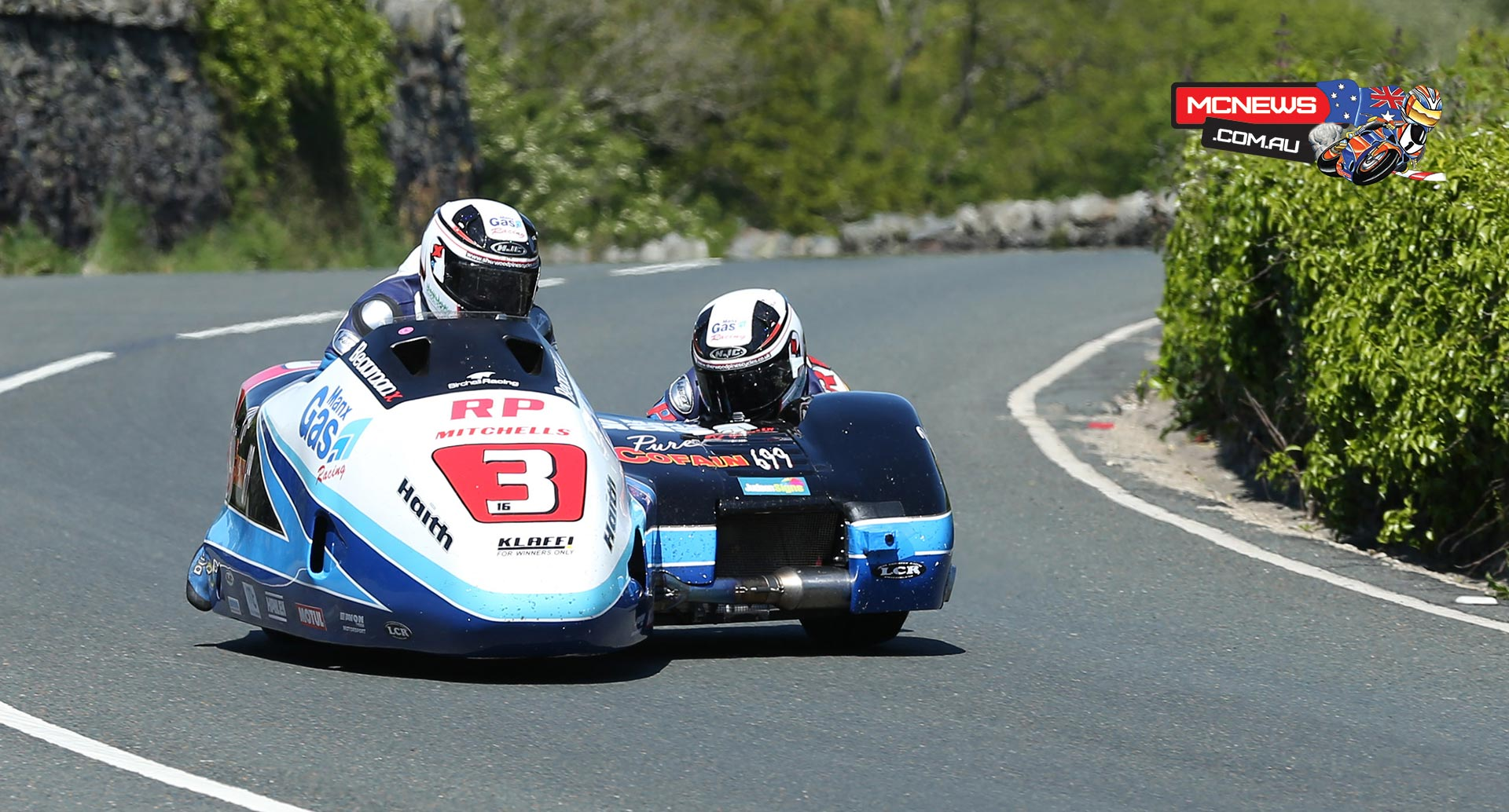 IOM TT 2015 - Sidecar Race Two - Ben and Tom Birchall approach the Gooseneck during Sure Sidecar Race 2. Credit Dave Kneen/Pacemaker Press Intl.