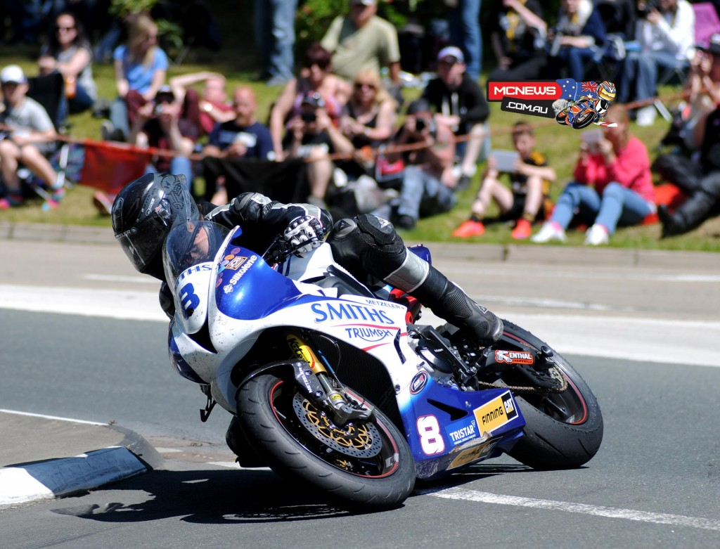 Guy Martin took his first podium place of Isle of Man TT 2015 fuelled by Monster Energy with third in Monster Energy Supersport Race 2 on the Smiths Racing Triumph. Credit Stephen Davison/Pacemaker Press Intl.