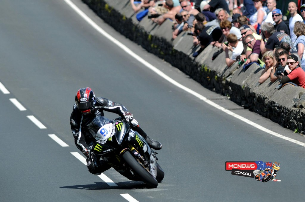 Ian Hutchinson, riding for Team Traction Control Yamaha, took first place in Monster Energy Supersport Race 2. Credit Stephen Davison/Pacemaker Press Intl.