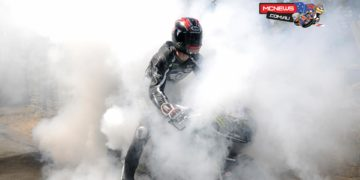 Ian Hutchinson disappears in a cloud of tyre smoke as his celebrates win number three - Monster Energy Supersport Race 2. Credit Stephen Davison/Pacemaker Press Intl.