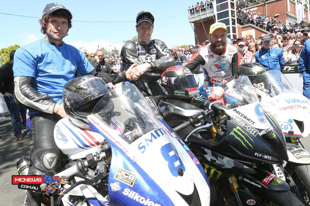 Top three in Monster Energy Supersport Race 2 Guy Martin (3rd, Smiths Racing Triumph), Ian Hutchinson (1st Team Traction Control Yamaha), Bruce Anstey (2nd Valvoline Racing by Padgetts Motorcycles). Credit Stephen Davison/Pacemaker Press Intl.