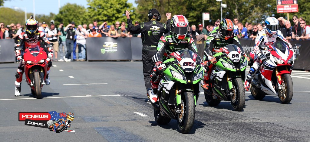 Four of the leading WorldSBK contenders, Chas Davies, Sylvain Guintoli, Jonathan Rea and Tom Sykes, enjoyed a parade lap around the iconic 37 mile IOM TT circuit in the break between races last Wednesday as
