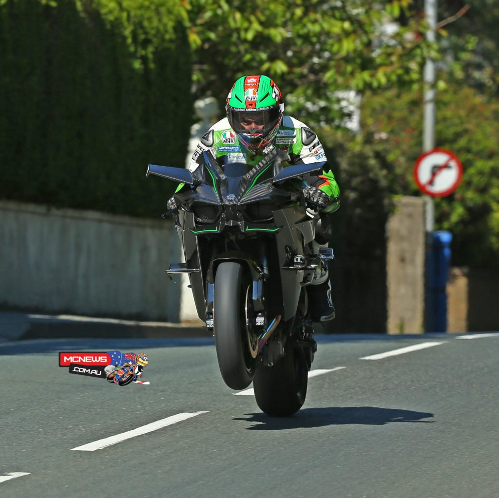 A 300bhp wheelie over Ago's leap for James Hillier's Kawasaki H2R on a closed-roads demonstration lap at TT 2015 fuelled by Monster Energy. Credit Double Red