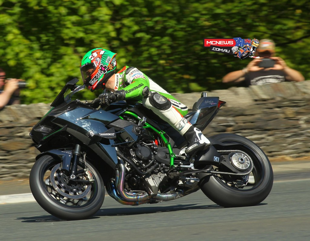 James Hillier throws the Kawasaki H2R round on on a closed-roads demonstration lap at TT 2015 fuelled by Monster Energy. Credit Double Red