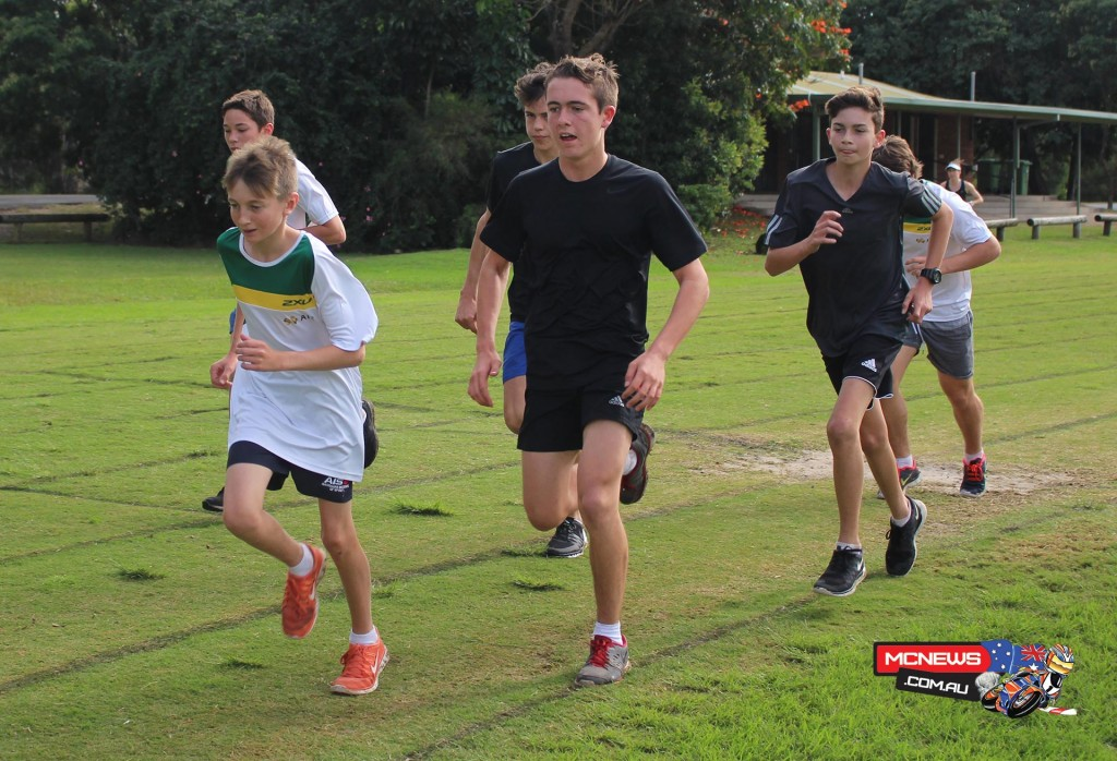 Queensland road racer Lachlan Taylor leads a group running session on the final day of the 2015 MA Elite Performance Academy camp on the Gold Coast on Sunday