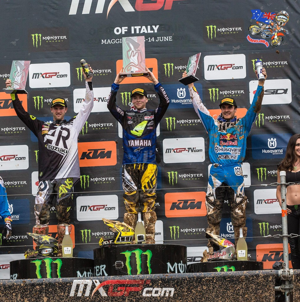 Todd Waters on the podium at the Italian MXGP at Maggiora