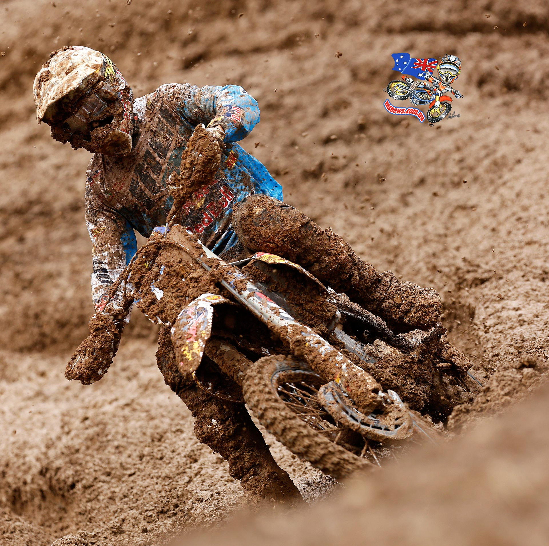 Todd Waters scored a podium result at the muddy Italian MXGP at Maggiora