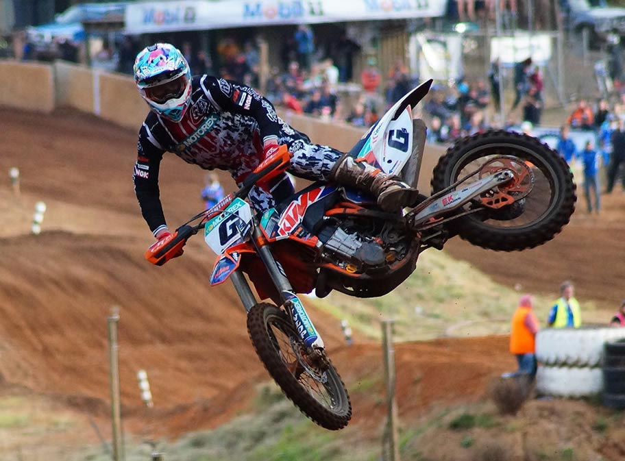 MX Nationals Championship leader Kirk Gibbs was in dominant form at Manjimup, leading home a stunning KTM trifecta
