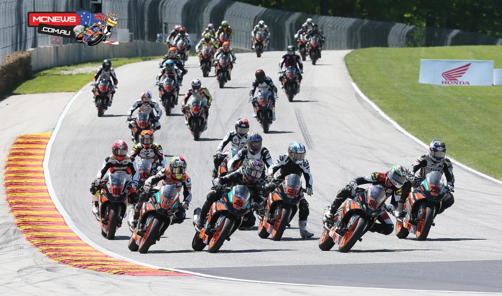 Gage McAllister (25) won the first-ever MotoAmerica KTM RC 390 Cup race at Road America on Saturday.