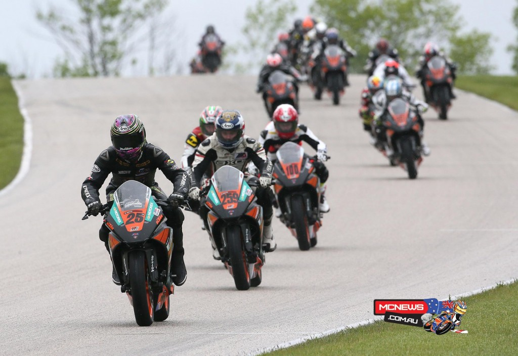 The KTM RC 390 Cup race was a thriller that was eventually won by Gage McAllister (25). (Below) Jake Gagne won the Superstock 1000 race. Photography by Brian J. Nelson.
