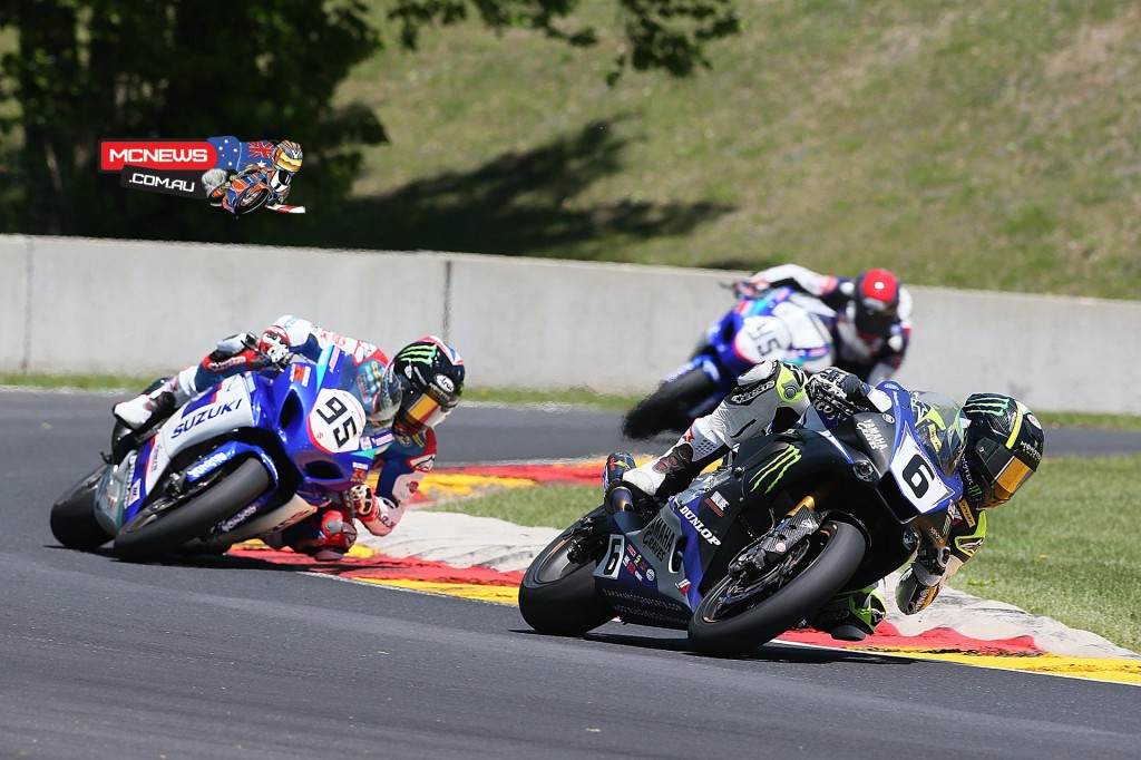 Monster Graves Yamaha's Cameron Beaubier (6) won the first Superbike race on Sunday at Road America and was second in race two. Roger Hayden (95) was a close second in race one. Photography by Brian J. Nelson.