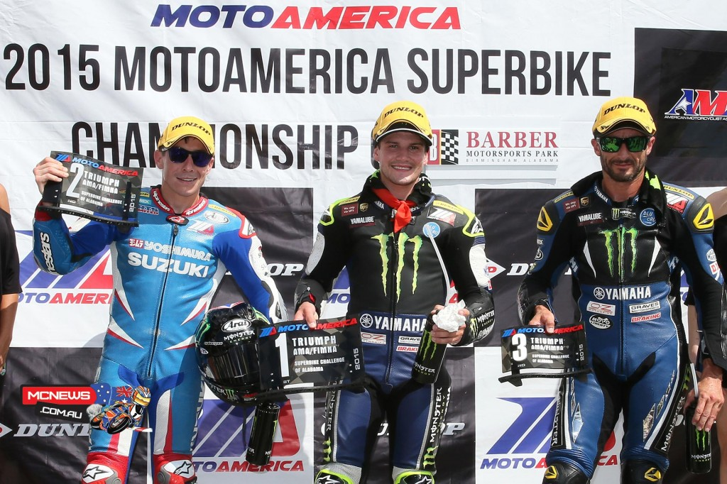 Roger Hayden, Cameron Beaubier and Josh Hayes celebrate after Superpole at Barber