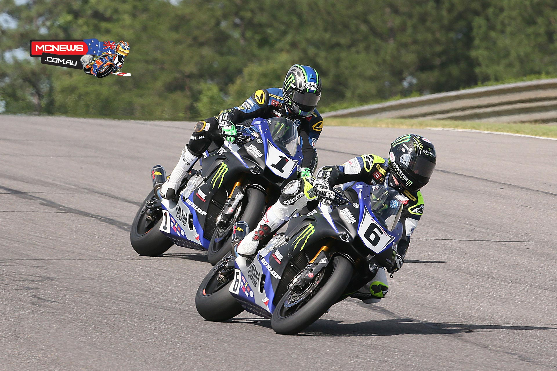 Cameron Beaubier (6) and his teammate Josh Hayes (1) split wins in Sunday's two MotoAmerica Superbike races at Barber Motorsports Park. Photography by Brian J. Nelson.