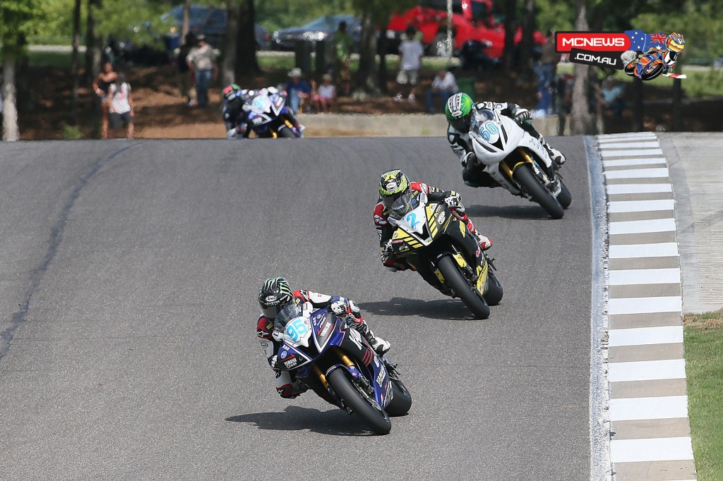 JD Beach (95) beat Josh Herrin (2) and Bobby Fong (50) to win the Supersport final on Sunday.
