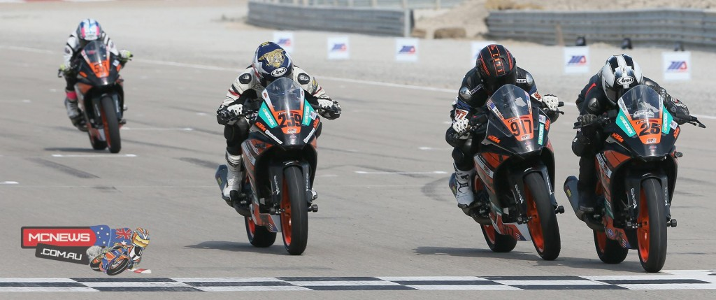 Cage McAllister (25) beat Justin McWilliams (917) to the line by .048 of a second to win the KTM RC 390 Cup final on Saturday at Miller Motorsports Park. Hayden Schultz (259) was third. Photography By Brian J. Nelson.