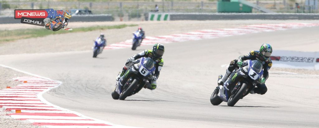 Josh Hayes (1) beat his teammate Cameron Beaubier (6) in both races to sweep the MotoAmerica Superbike doubleheader at Miller Motorsports Park on Sunday. Photography by Brian J. Nelson.