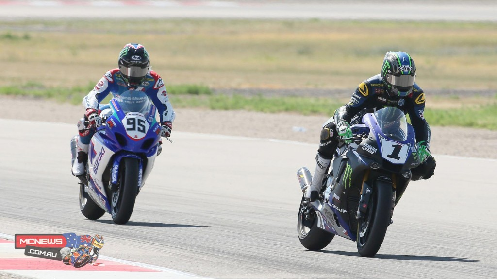 Josh Hayes (1) leads Roger Hayden (95) during their battle in the second Superbike race on Sunday. Hayes won with Hayden slipping back to third with a mechanical problem. Photography by Brian J. Nelson.