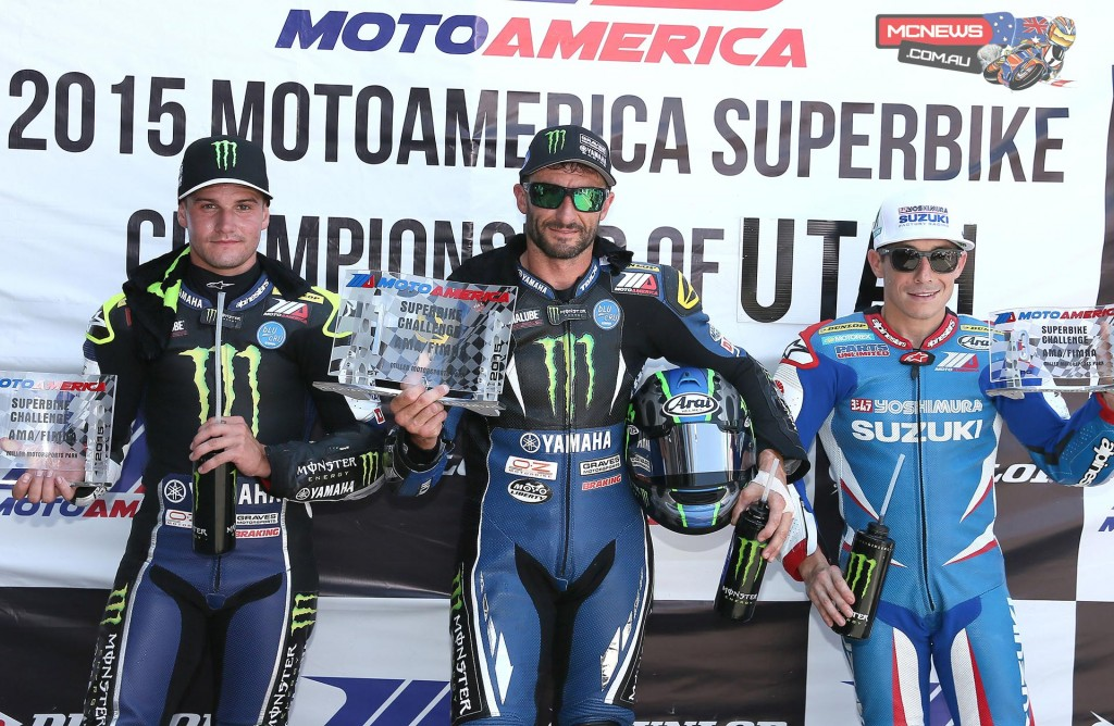 Cameron Beaubier, Josh Hayes and Roger Hayden after Superpole. Photography By Brian J. Nelson.