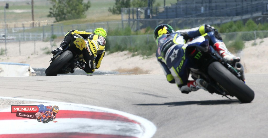 Richie Escalante gives chase to Superstock 600 winner Joe Roberts in their Sunday battle.