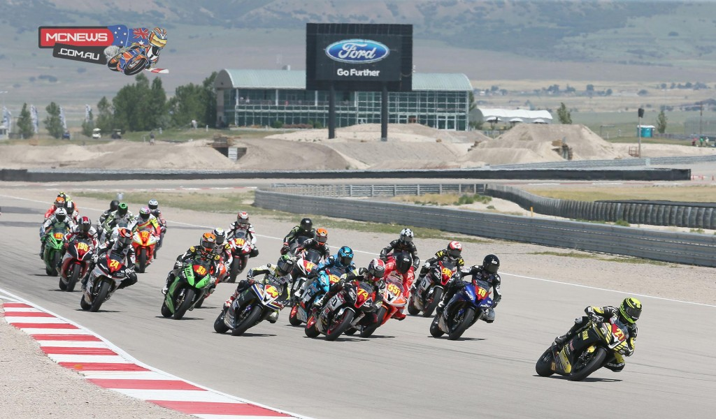 Joe Roberts (27) beat Michael Gilbert (551) and Bryce Prince (74) to win the Superstock 600 final at Miller Motorsports Park.