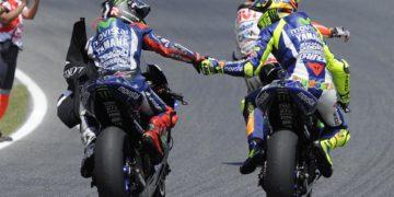 Yamaha celebrate their second 1-2 finish of MotoGP 2015
