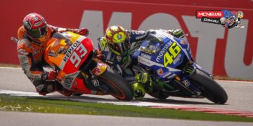 Marquez made a brave move on Rossi as the duo entered the final chicane on the last lap.