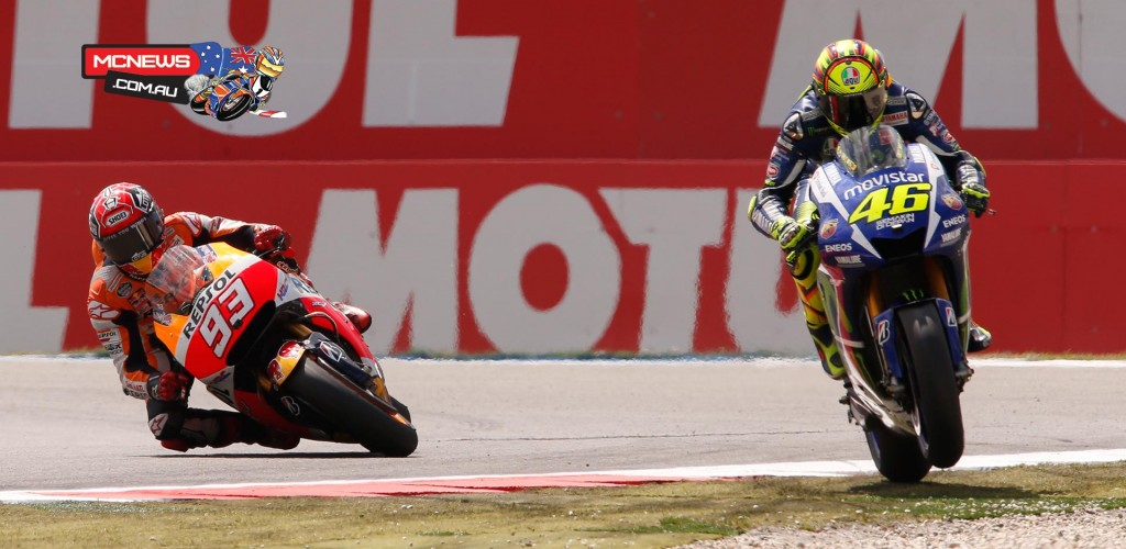 There was contact between the pair, which forced Rossi to run straight on through the gravel at the Geert Timmer chicane.